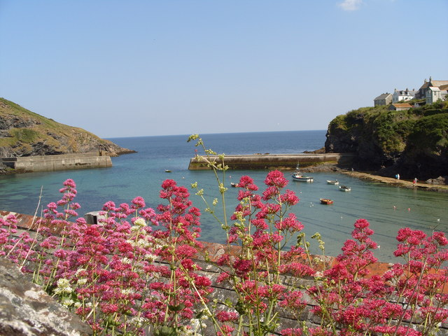 Overlooking Port Isaac Harbour on a warm sunny day