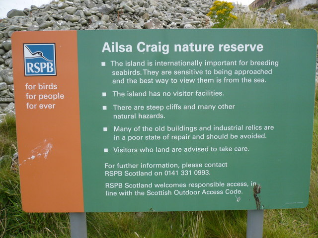 RSPB Signage near the jetty on Ailsa Craig