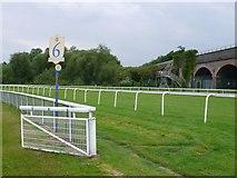 SJ3965 : Chester racecourse 6 Furlong marker by Nigel Mykura