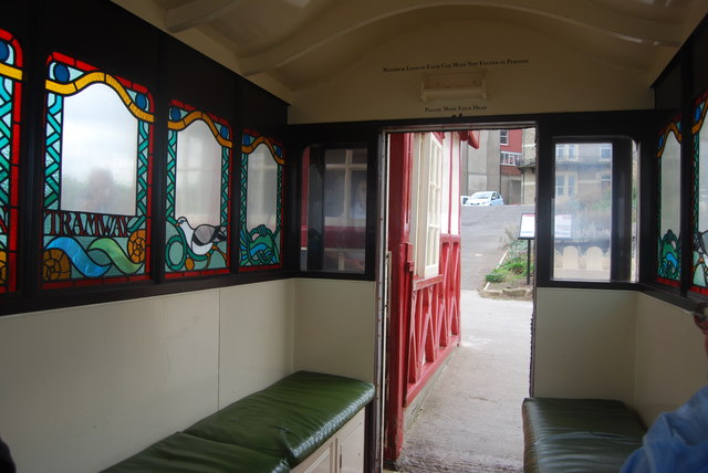Funicular railway car, detail of interior, Saltburn-by-the-Sea