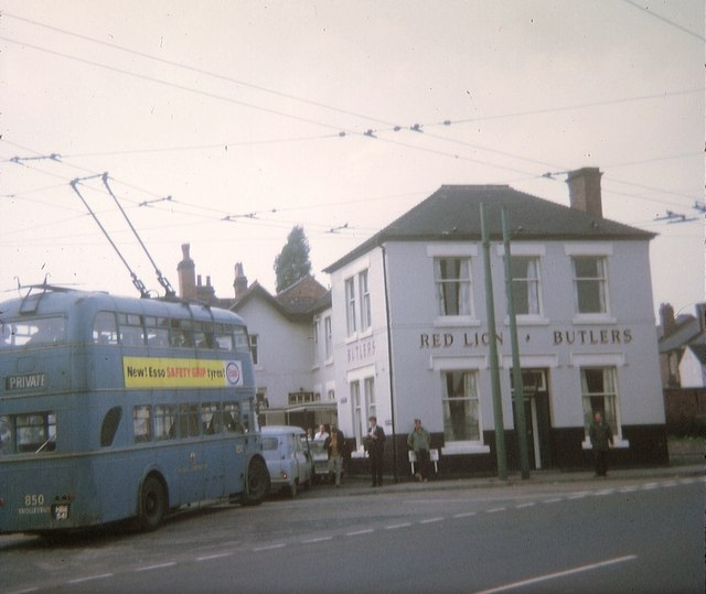 """Walsall trolleybus at the """"Red Lion"""", Leamore"""