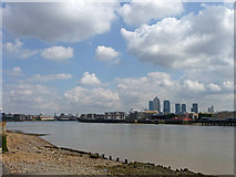 TQ3580 : Thames view with Docklands by Christine Matthews