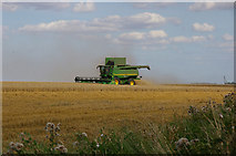 TA0114 : Harvesting on the Wolds near Worlaby by David Wright