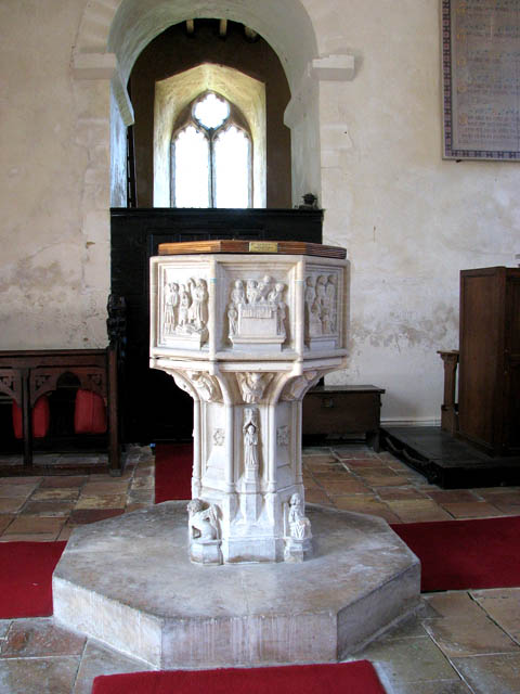 The church of SS Margaret and Remigius - C15 baptismal font