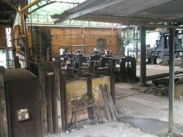 Machinery within the ironworks at Blist Hill Open Air Museum