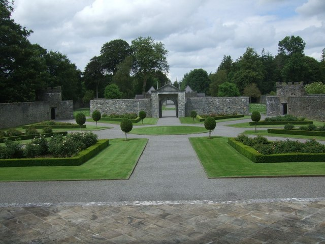 Restored gardens at Portumna Castle