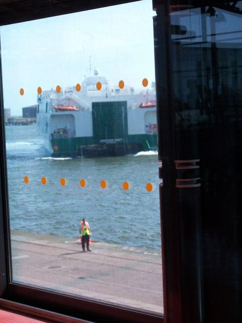 The Jonathan Swift reversing into her berth at Dublin Port