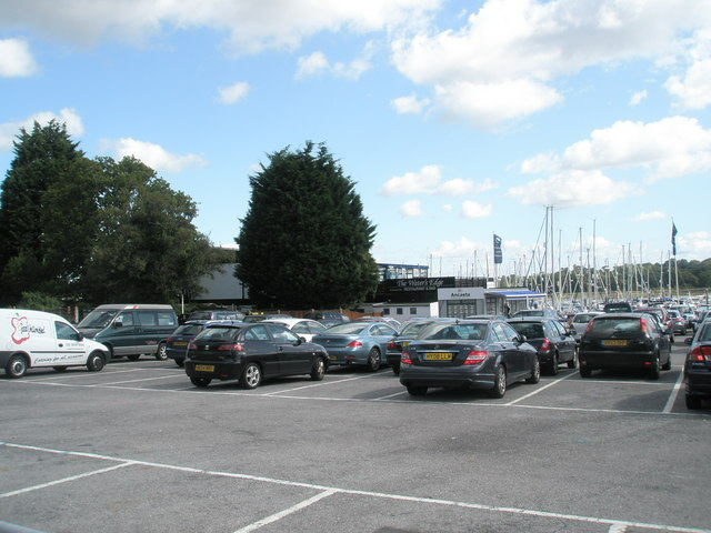 Car park for the Water's Edge Restaurant at Hamble