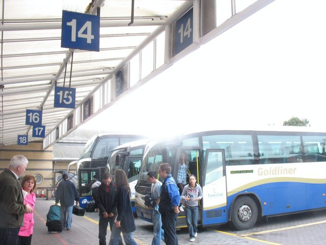 The forecourt of the Europa Bus Station off Victoria Street