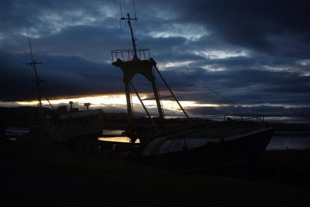 Glencaple boat at sunset
