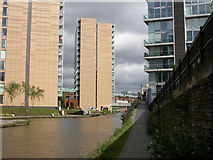 SJ8297 : Cornbrook, canalside housing by Mike Faherty