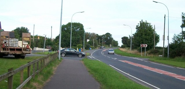 The A50 at its junction with the Tollymore and Churchill Roads