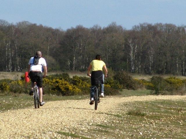 Cycling in Greenham Common, Newbury