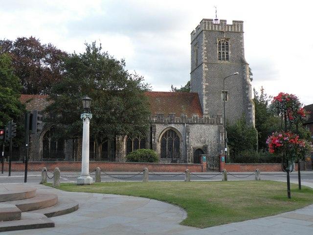 All Saints church, opposite the castle