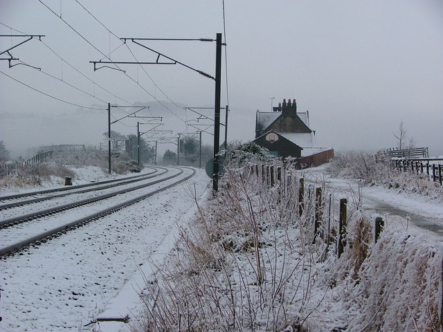 Lesbury Station in the snow