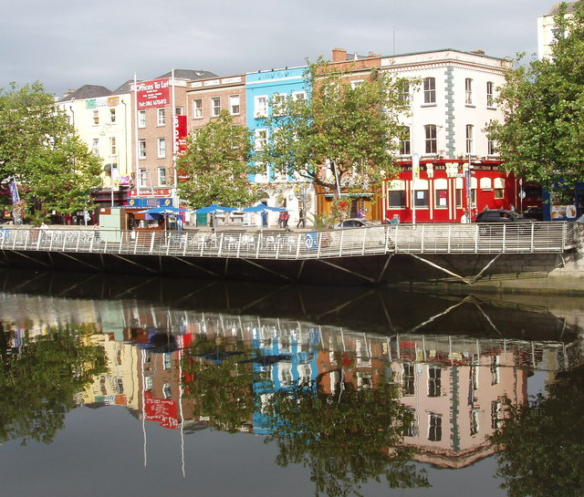 Liffey North Bank and reflections from O'Connell Bridge