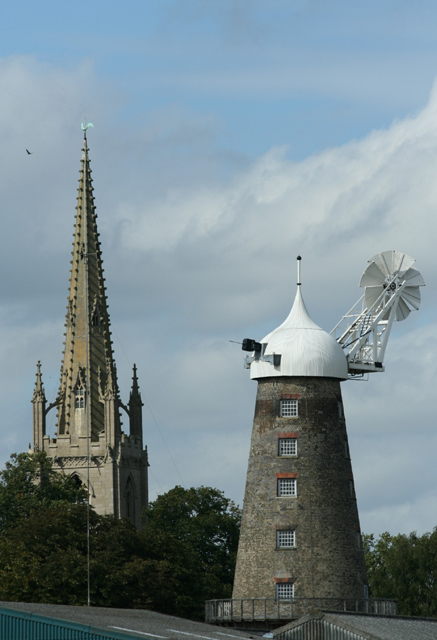 Tower mill and All Saints' spire, Moulton, Lincs