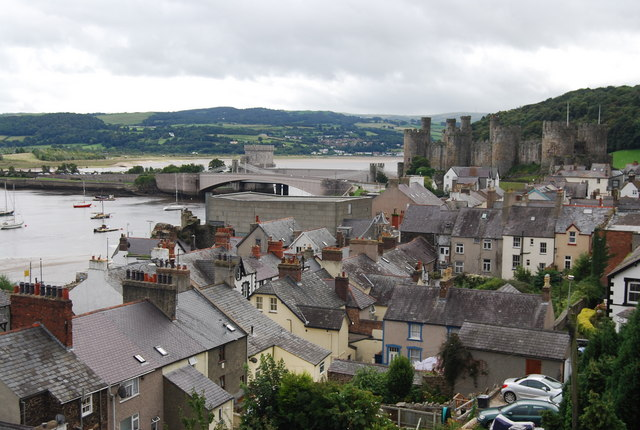 Conwy Castle & Bridge across the rooftops