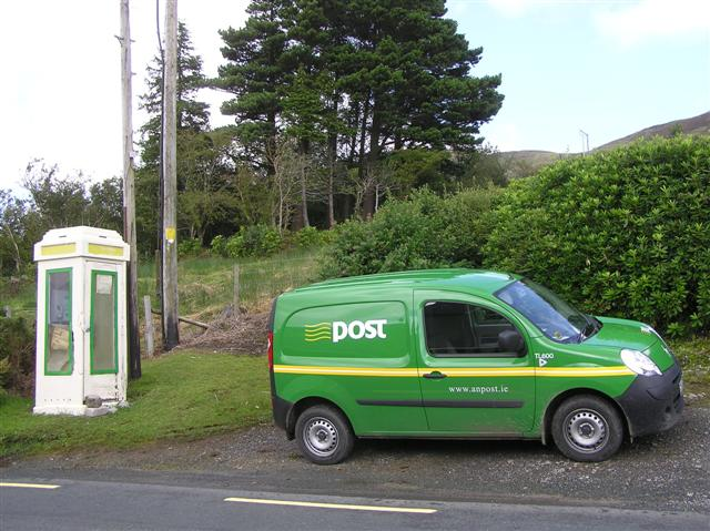 Telephone box and post van, Glenade