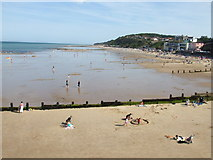TG2142 : Cromer beach near pier by Richard Humphrey