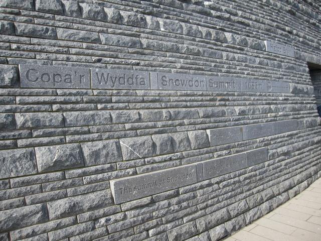 Inscriptions on Hafod Eryri on Yr Wyddfa - in the sun