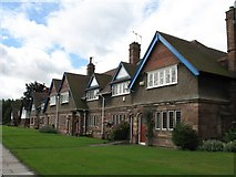 SJ3384 : Houses at Port Sunlight (Tile-Hung Gable, Roughcast, Red Sandstone) by Gerald Massey