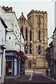 SE3171 : Kirkgate, Ripon with Minster at the end of the road by nick macneill