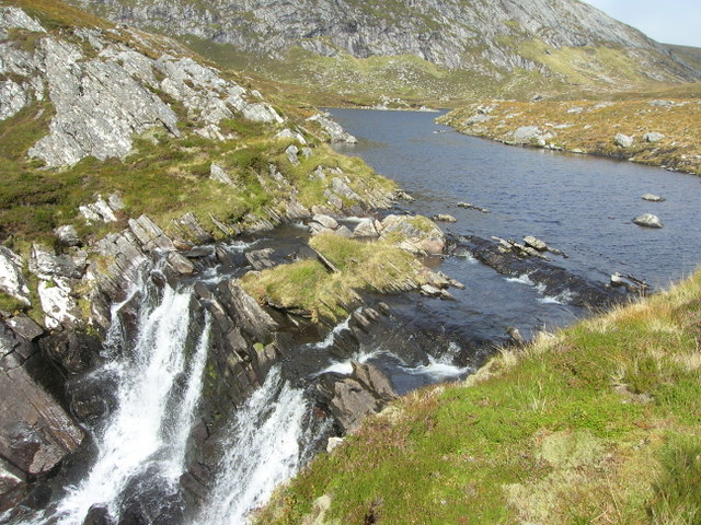 Waterfall at the outflow of Loch Prille