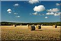 SW4331 : Straw bales near Tremayne by Cornwall Guide