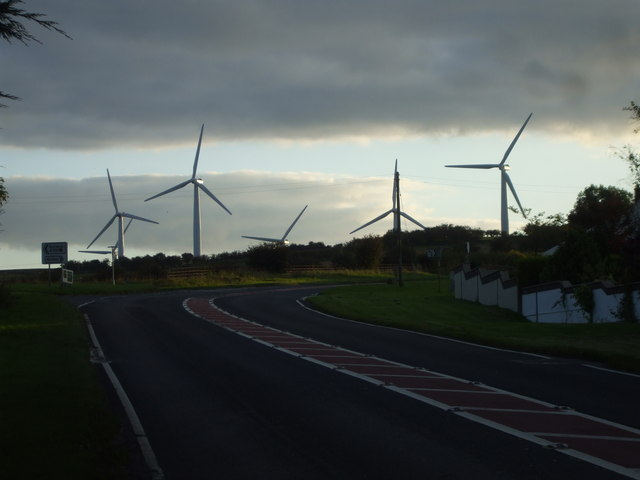Road junction at Bothel, looking towards the windfarm