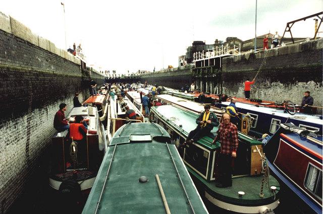 Inland Waterways Association's flotilla in the smaller of the Latchford Locks