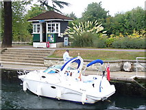 TQ0172 : Boat in Bell Weir Lock by Colin Smith
