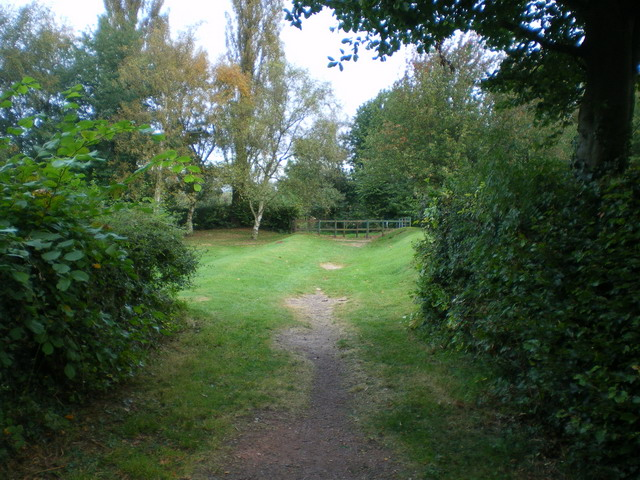 The north end of the public footpath across the South Staffs golf course