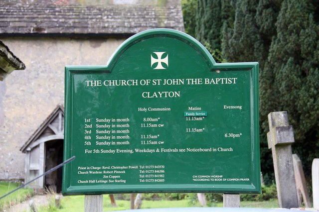 St John the Baptist, Clayton, Sussex - Notice board by John Salmon