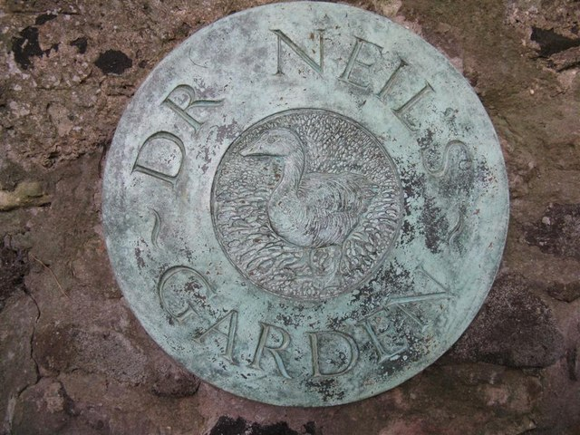 Plaque at the entrance to Dr Neil's Garden