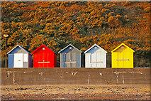 TG2142 : Beach Huts on Seafront, Cromer, Norfolk by Christine Matthews