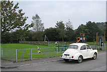 SN7634 : Children's play area, Llandovery by Pauline E