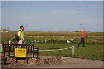 NU0445 : Teeing off at the 10th hole at Goswick Golf Course by Walter Baxter