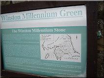 NZ1416 : A 'Winston Millennium Green' notice by Stanley Howe