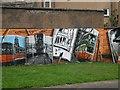 NS5766 : Mural, Kelvingrove Park. 3 - Trams by Richard Webb