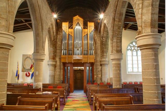 The new organ and millennium carpet in St. Helen's Church