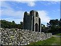 NY5415 : Shap Abbey and stone wall by PAUL FARMER
