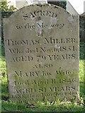 ST8992 : Miller family gravestone St Mary's Tetbury. by Paul Best