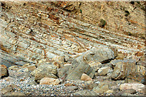 SM8422 : Near-horizontal strata in cliffs at Pwll March, Newgale by Andy F