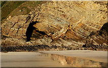 SM8422 : Folded strata at north end of Newgale beach by Andy F