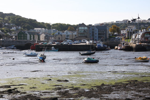 Jubilee Wharf at low tide from across the Penryn River