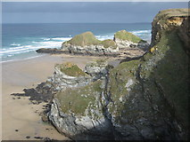 SW8363 : The coast at Whipsiderry by Philip Halling