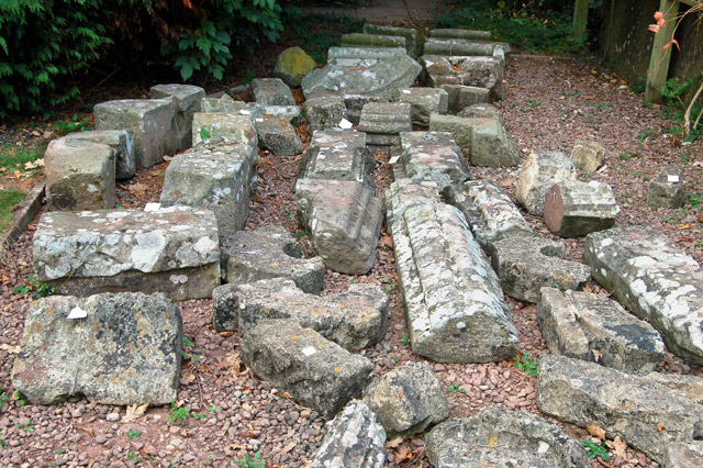 Store of stones awaiting restoration, Raglan Castle