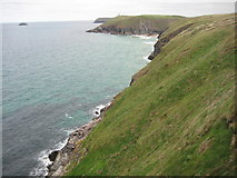SW9077 : The Cornish coast west of Stepper Point by Philip Halling