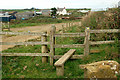 SM8123 : Stile on the footpath from the coast to St Elvis Farm by Andy F